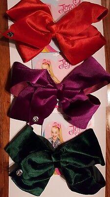 Lot Of 3 New Style Large Velvet Jojo Siwa Bows   Hard To Find