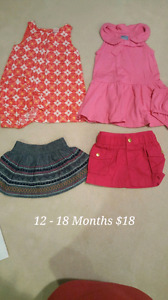 Baby & Toddler Girl's Clothing - Sizes 12-18 Month to 36 Months.