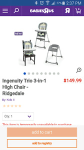 Ingenuity trio 3 in 1 high chair