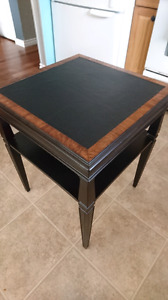 Faux leather topped vintage wood table