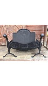 Large stock - fire grates, backplates, fire backs, firedogs cast iron antique and reproduction