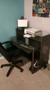 Glass desk and computer chair