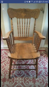 Six maple pressed back chairs