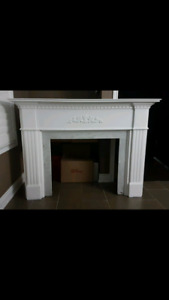 Fireplace Mantle With Marble Stone Insert