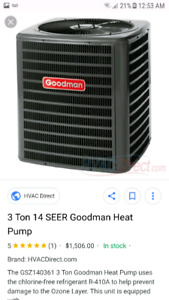 2 year old Goodman heat pump air condition