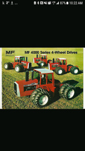 Wanted Massey 4000 series 4wd tractor