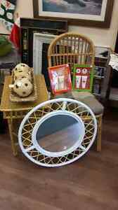 Wicker table chair and accessories