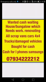 All scrap cars and Vans bought for cash Huddersfield