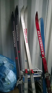 cross  country skis  for sale   pairs left red ones