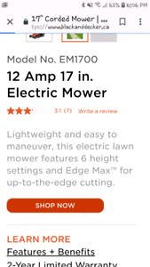 Black and decker 12 amp 17 in electric mower
