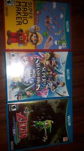 Wii U games: Mario Maker, Super Smash Bros Wii U and Zelda Windw