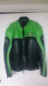 Green leather motorcycle jacket for sale