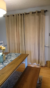 Two sets of heavy blackout beige curtains