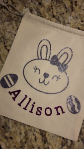 Personalized, reusable Easter bags. Can add any name/image