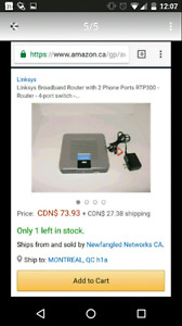 LINKSYS RTP300 4-PORTS ROUTER WITH 2 PHONE PORTS (VOIP)