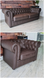 Chesterfield 3 seater sofa and club chair.