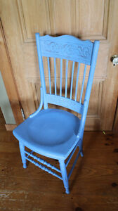 Vintage Pressed Back Chair in Blue Chalk Paint