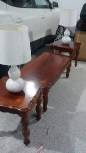 Coffee table, end tables and two lamps