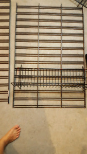 Slat wall and wired shelves and hooks