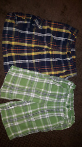 Two pairs boys plaid shorts size 7