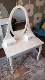 White Dressing Table with Glass Surface & Stool