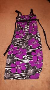 Purple flower zebra print dress