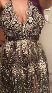 Selling a prom dress! Navy blue, gold and silver embroidered.