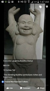 19 Inch Tall Concrete Happy Buddha Statue $79.99