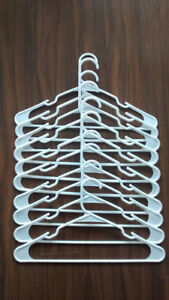 10-pack of white plastic coat hangers, excellent quality