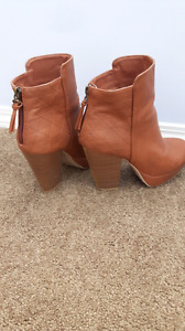Tan ankle high boots