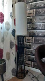 Vintage mid century style rattan bamboo tall floor lamp l