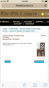 SANTE FE Double Crossback Chairs - $375.00