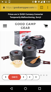 Full cooking set. For camping outdoors or Home. Foldable handles