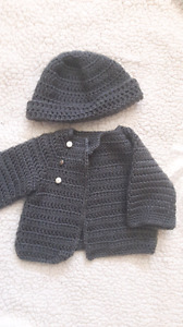 Hand knitted grey 3-6 month sweater and hat