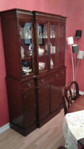 Dining room table and cabinet with 4 chairs