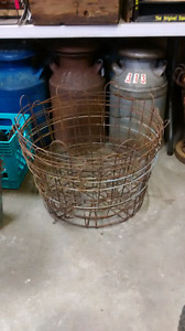 Milk cans and wire baskets