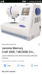 Janome Memory Craft 300e  Embroidery Mach Ton of Extras