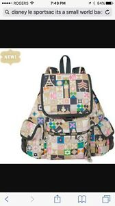 NEW Lesportsac Voyager backpack It's a small world Disney