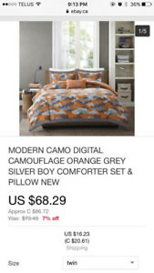 NEW IN PACKAGE MODERN CAMO BEDDING