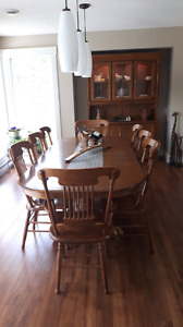 Solid Oak Dining Set with Hutch