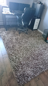 Like New High Pile Shag Rug in Brown and Creamy White