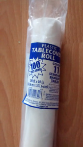 White plastic table covers