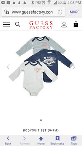 3 pieces size 6-9 months Guess boy long sleeve onsies