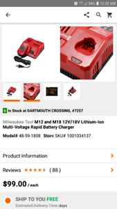 Milwaukee m18 m12 RAPID CHARGER $60