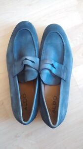 New Unworn Cole Haan Blue Grey Suede Penny Loafers 44/ 10.5M