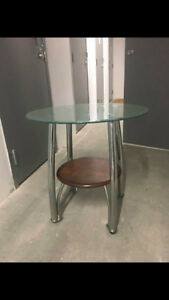 TWO glass/wood/metal Side Tables