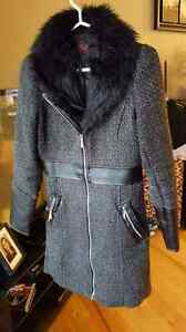 Yoki jacket coat small long fur and faux leather accents