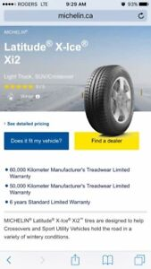 4 Michelin Latitude X-Ice Xi2 size 265/70R17 with rims