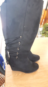 Black wedge thigh high boots