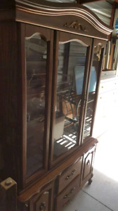 Solid wood hutch with glass door